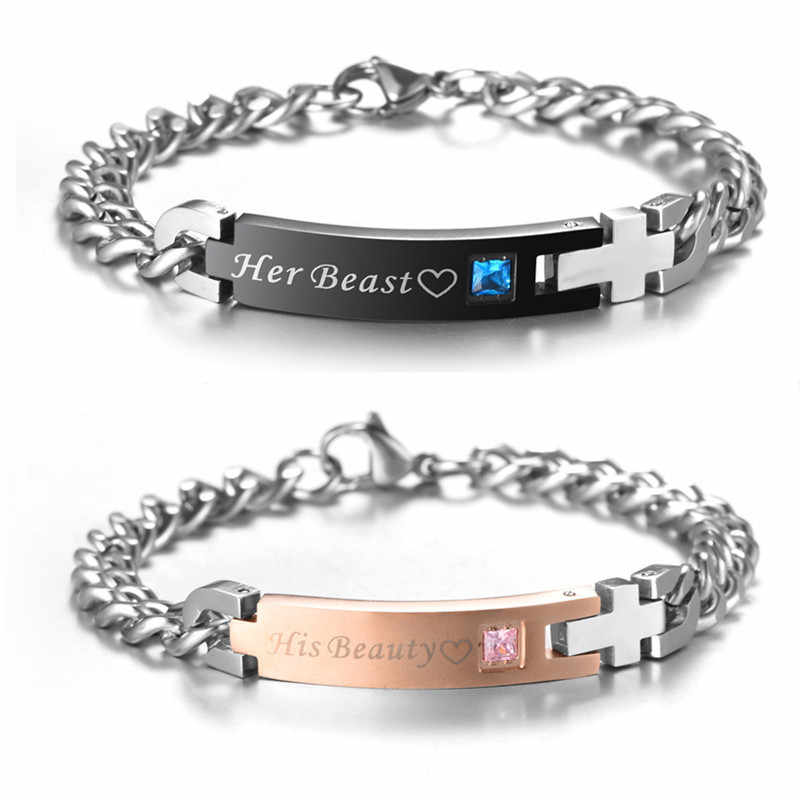 6ea0643b50 Trendy Stainless Steel His Beauty Her Beast Couple Crystal Charm Bracelets  For Women Men Bangles Jewelry