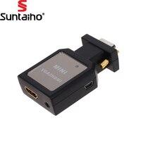 1080 P HD VGA a HDMI + 3.5mm Audio Video Mini Definizione del Convertitore Dell'adattatore del convertitore Adapter per VGA al Convertitore di HDMI HDTV