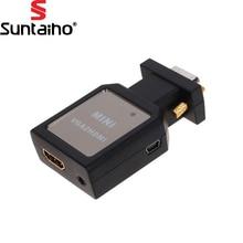 1080P HD VGA to HDMI + 3.5mm Audio Video Mini Converter Adapter Definition Converter Adapter for VGA to HDMI Converter HDTV