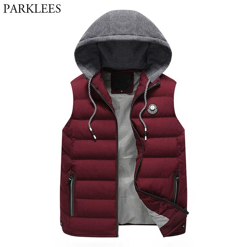 Warm Sleeveless Jackets 2017 Winter Men Hooded Vest Zipper Casual Men Waistcoat Chalecos Hombre Thick Cotton Padded Mens Vests
