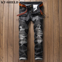Spring New Men Jeans Ripped Holes Fashion Straight Denim Pants For Man Casual Slim Biker 100%Cotton Black Male Jeans Trousers