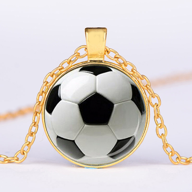 SIAN Novelty Fashion Soccer Pendant Necklace Football Art Photo Glass Cabochon Long Necklace Men Boy Children Gift Sport Jewelry