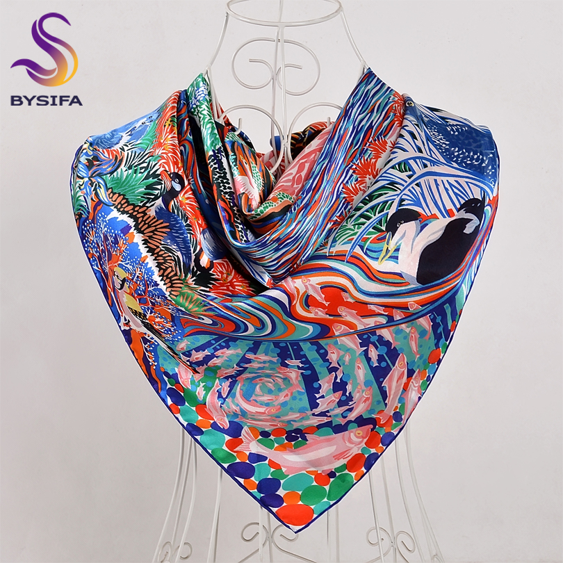 BYSIFA Silk Square   Scarf   Shawl New Arrival 100% Pure Silk Crepe Satin   Scarves     Wraps   90*90cm Spring Autumn Winter Ladies   Scarves