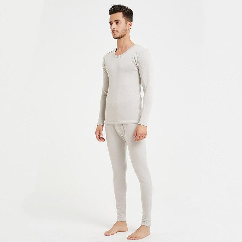 100% di seta peluche caldo set di biancheria intima di spessore lungo resistente al freddo degli uomini rotondi del collare abbigliamento invernale e pantaloni LVFAN ZC0002 - 5