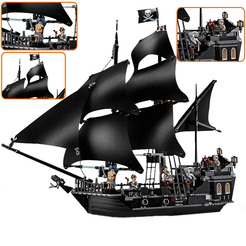 Black Pearl Ship Model Block Toys 840pcs Pirates of the Caribbean Gifts For Children Compatible Building Blocks Set Lepin 16006 waz compatible legoe pirates of the caribbean 4184 lepin 16006 804pcs the black pearl building blocks bricks toys for children