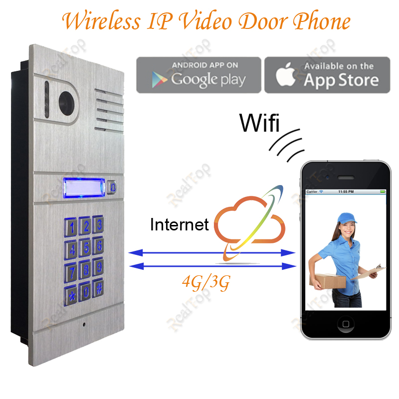 Wireless WIFI IP Video Door Phone via Smartphone Control,remote control door access by iphone,android smartphone&Tablets bw wireless wifi door