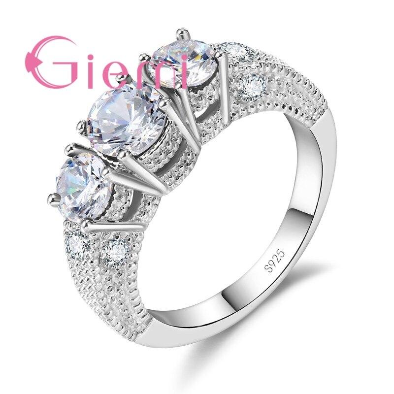 GIEMI Классический круглый палец кольца женский Обручение Анель 925 серебро Циркон Свадебные украшения для Для женщин Anillos Bijoux подарок