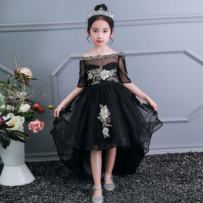 Романтичное свадебное платье подружки невесты с цветочным узором для девочек; Новинка года; длинное кружевное платье с украшением из бисера; праздничное платье с цветочным узором для девочек - Цвет: black