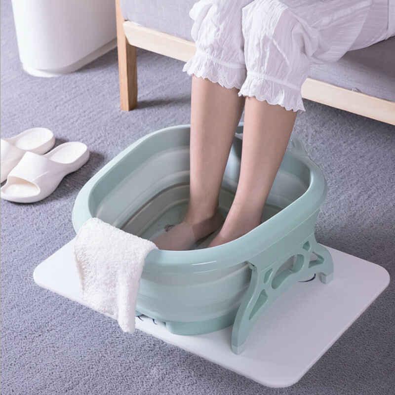 1 قطعة الإبداعية عالية الجودة الأسطوانة للطي تدليك تمرغ قدم حوض مريح غسل سبا المنزل استخدام باديكير العناية الاسترخاء القدم برميل