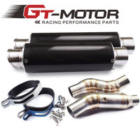GT Motor Motorcycle Exhaust middle pipe Round Muffler with 2 piece exhaust for Kawasaki Z1000 10 15 Slip On