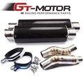Gt motor-medio tubo silenciador redondo con 2 unidades de escape de escape de la motocicleta para kawasaki z1000 10-15