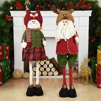 2pcs Santa Claus+Snowman Dolls Table Display Window Christmas Decoration Retractable Standing Toys Home Office Desktop Ornament