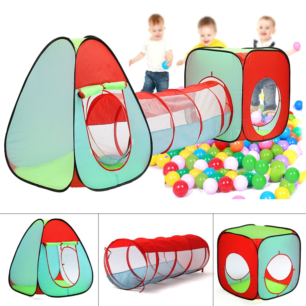 Portable 3 In 1 Kids Children Indoor Outdoor Play Tent Tunnel Ocean Ball Pit Toy Funny Toy Tents For Children