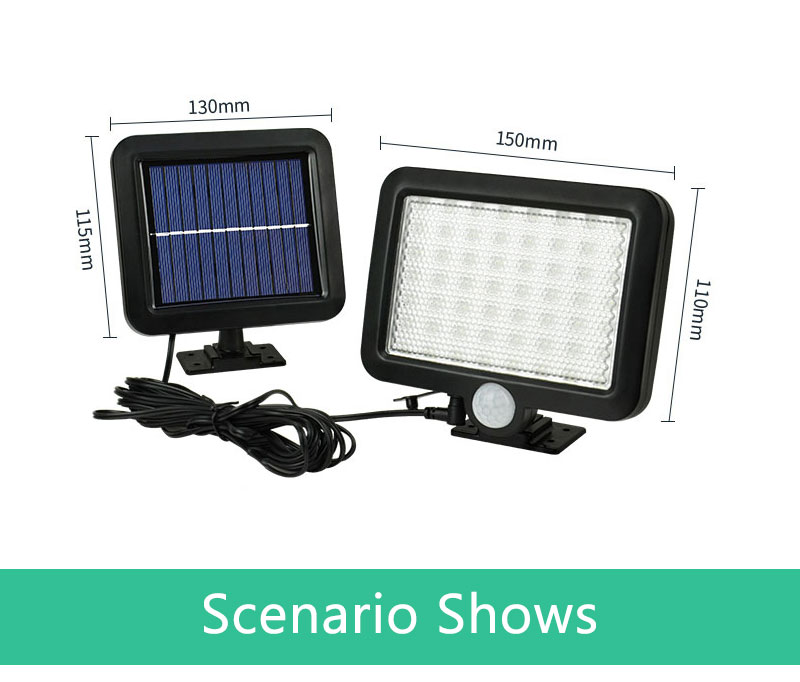 Waterproof Outdoor Solar Wall Light with 56 LED with PIR Motion Sensor for Garage and Yard 15