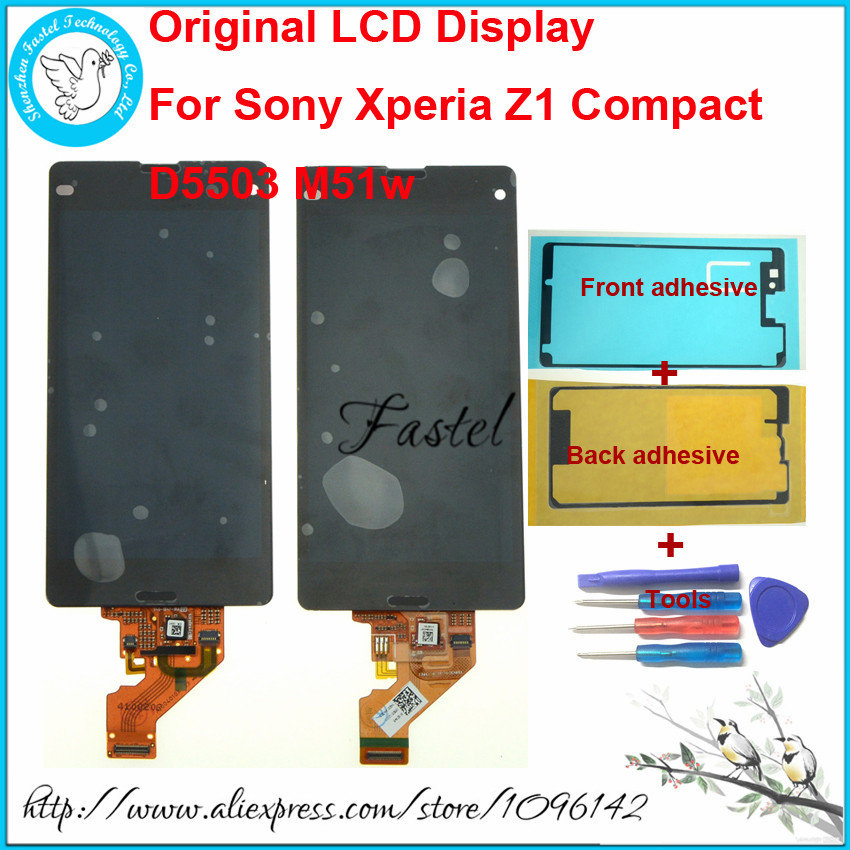 ФОТО For Sony Xperia Z1 Compact Z1 mini D5503 M51w Original LCD Display + Touch screen Frame and battery door Adhesive Sticker Glue