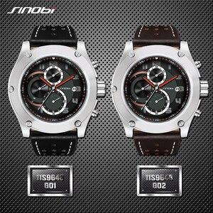 Image 3 - Reloj deportivo Marca SINOBI para hombre, correa de reloj de cuero, resistente al agua, cronógrafo, reloj de pulsera militar, Saat, RU