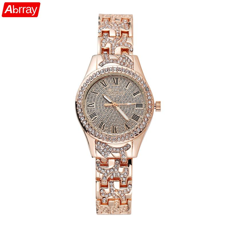 Abrray Luxury Ladies Quartz Watch Rhinestone Women Watches R