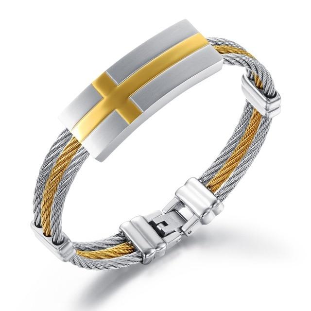 Three Laps Steel Braided Rope Bracelet Between Gold Cross Mens Anium Men Stainless