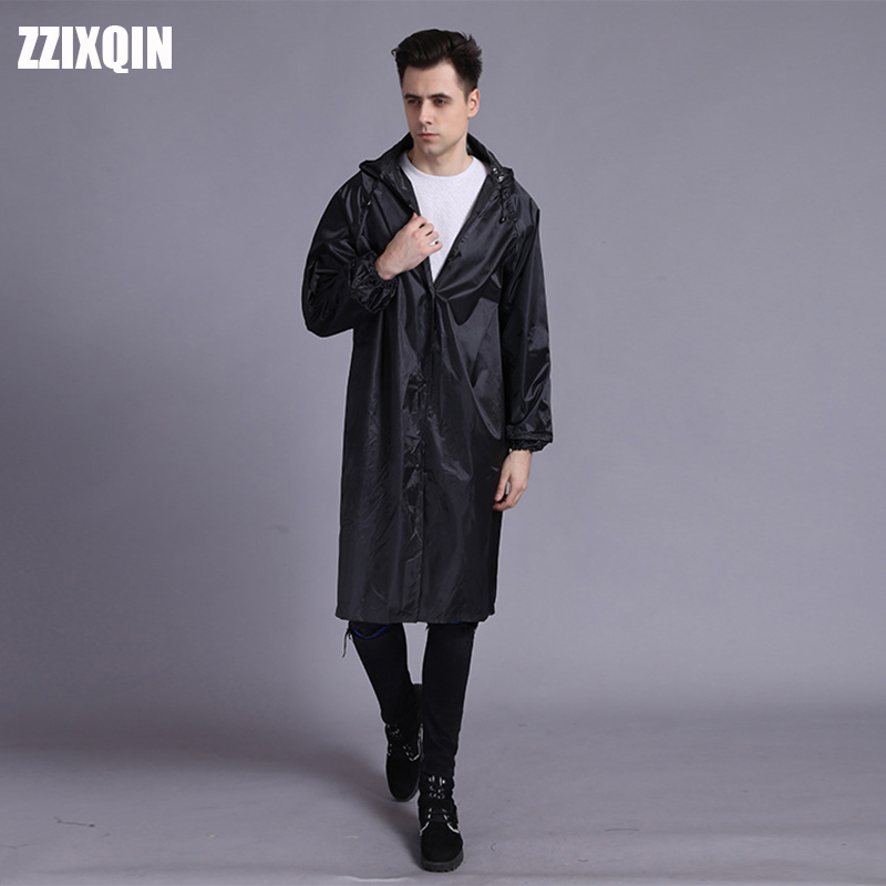 ZZIXQIN Long Fashion New Retro Outdoor Travel Raincoat Labor Safety Reflective Poncho Hooded Siamese Riding Raincoat