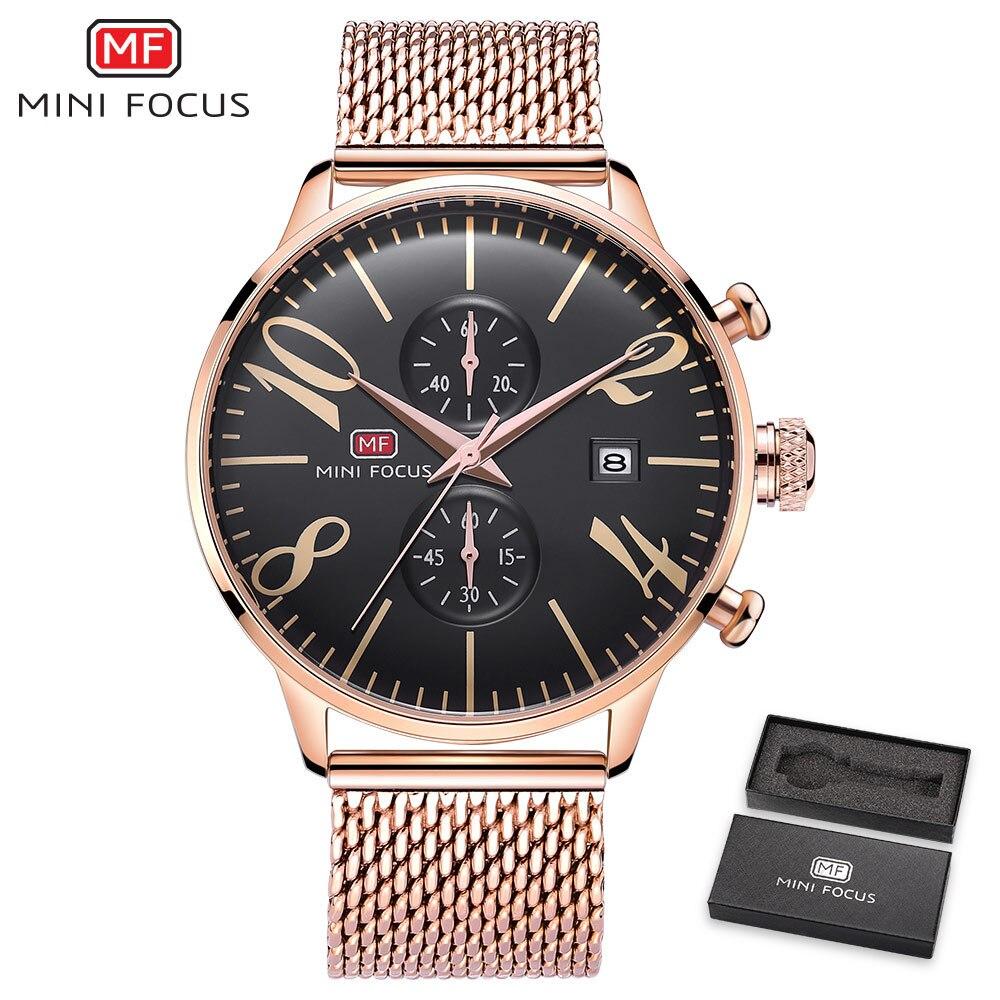 MINI FOCUS Top Brand Luxury Men Quartz Watch Ultra Thin Rose Golden Mesh Strap 2 Time Zone Date Display Wrist Watches +BOX