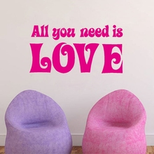 "The Beatles Quotes Vinyl Wall Sticker Lettering Art words ""All You Need Is Love"" Wall Decals For Home Bedroom Decoration"