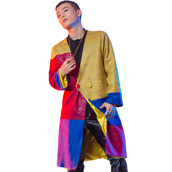 S-6XL!!!  2018  Club male singer tide male DJ costume Personality fashion stitching loose loading stage  The singer's clothing
