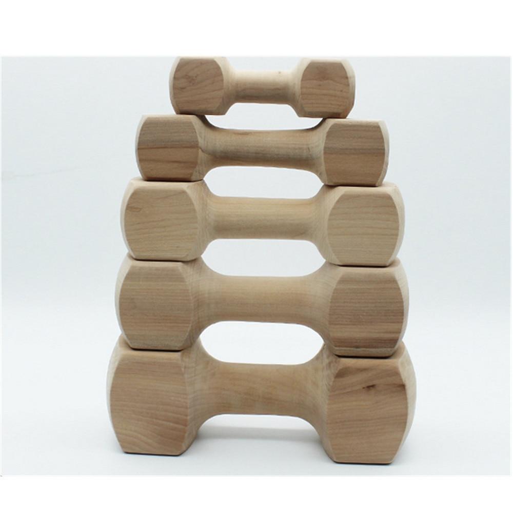 5 pièces Hateli bois massif os haltère chien jouet Pet morsure caoutchouc molaire os morsure résistant jouet - 2