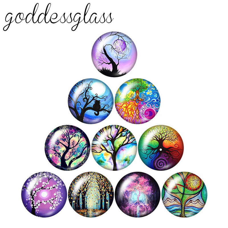 Beauty Colorful Magic Life Tree 10pcs 12mm/18mm/20mm/25mm Round photo glass cabochon demo flat back Making findings ZB0991