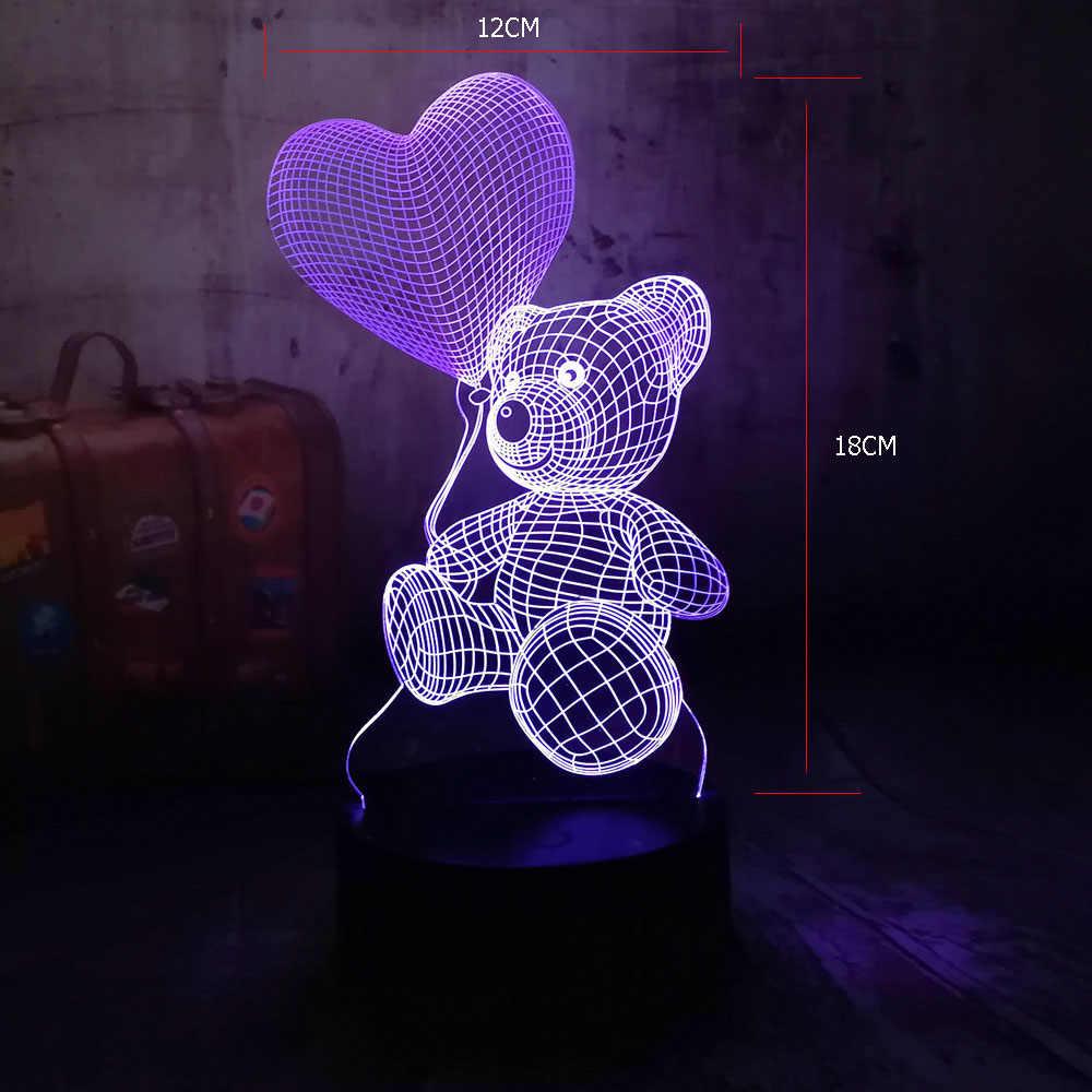 Милый новый 2019 Детский плюшевый медвежонок держать любовное сердечка, шар 7 цветов пеленальный столик светильник светодиодный 3d-ночник Декор сувениры для детей