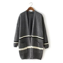 2016 New Fashion Women Elegant Gray Knitted Striped Pattern Thick Sweaters Cardigan Long Sleeve Coats Casual