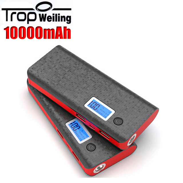 Tropweiling powerbank 18650 10000 mah banco de la energía 18650 banco de la energía caja de batería portable del banco pover para teléfonos