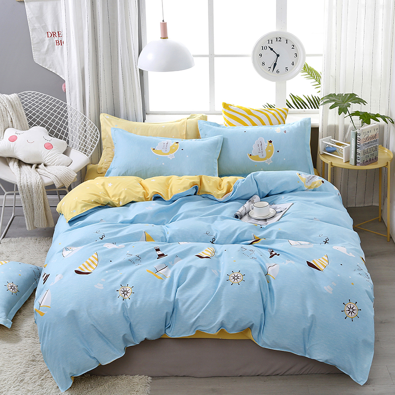 4pcs/set Sea World Cartoon Ship Printing Comfortable Bedding Set Bed Linings Duvet Cover Bed Sheet Pillowcases