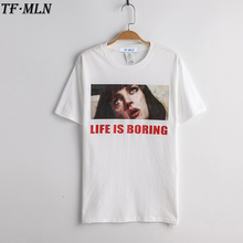 New Harajuku T Shirt Camisetas Mujer White T-shirt 2017 Summer Novelty Tee Shirt Femme Life is Boring Letters Print Women Tshirt