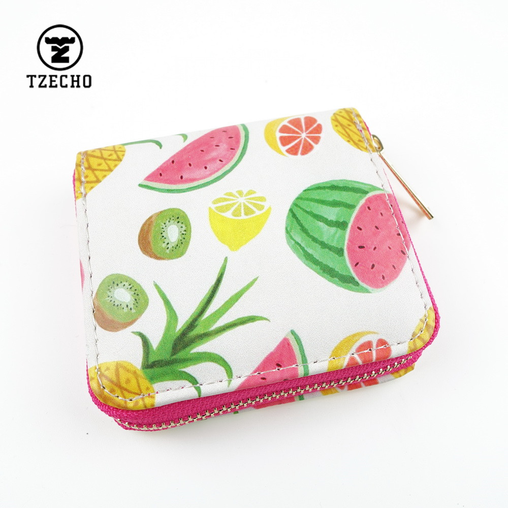 TZECHO Zipper Around Womens Wallets Leather Print Fruit Girls Short Money Purses Mini Coin Pocket Small Card Holder Bag