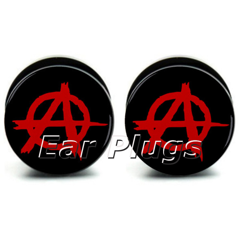 Pair of Anarchy ear plug gauges tunnel acrylic screw flesh tunnel body piercing jewelry PAP034