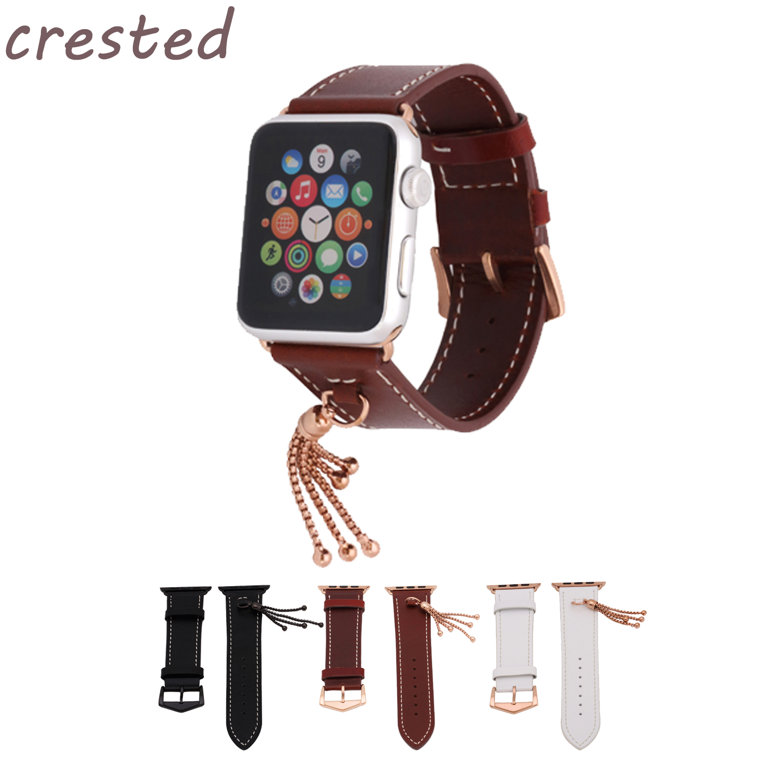 купить CRESTED genuine leather strap for apple watch band 42mm/38 Ornaments bracelet watch band women watchband for iwatch 1/2/3 belt по цене 767 рублей