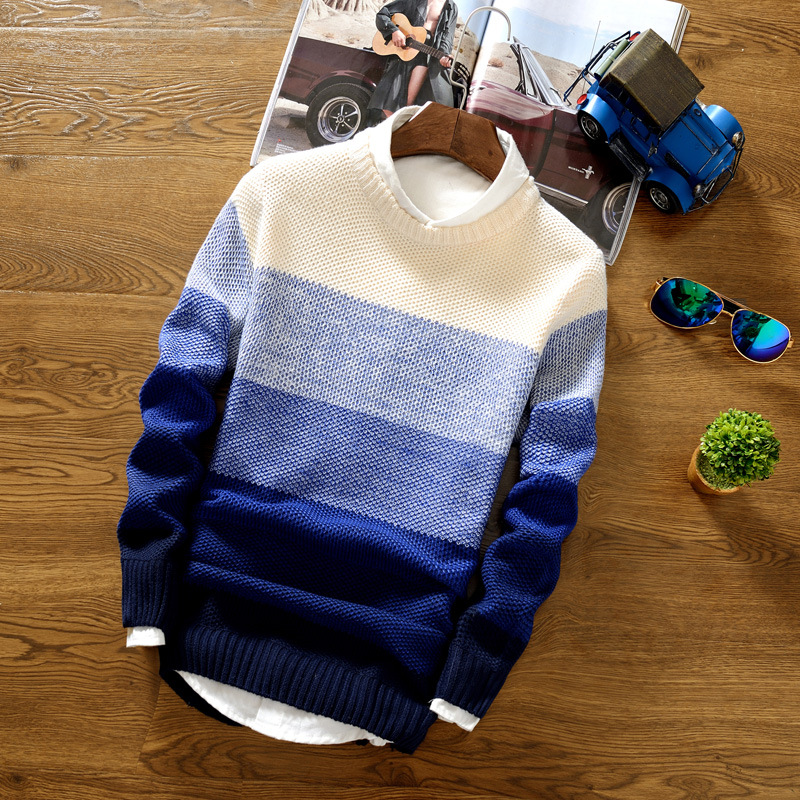 Spring Autumn Men's Jacket Coat Fashion Wool Striped  O-Neck Slim Fit Sweater Pullovers Mens Clothing  Pullover Men Pull Homme 5