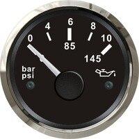 1pc 0 145psi 52mm oil pressure gauges fuel pressure gauges 0 10bar 12/24v fti for boat or auto tuning
