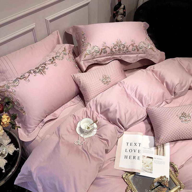 Luxe Borduurwerk Egyptisch Katoen Roze Beddengoed Set kingsize Queen Bed set Laken set hoeslaken Dekbedovertrek parure de lit-in Beddengoed sets van Huis & Tuin op  Groep 2