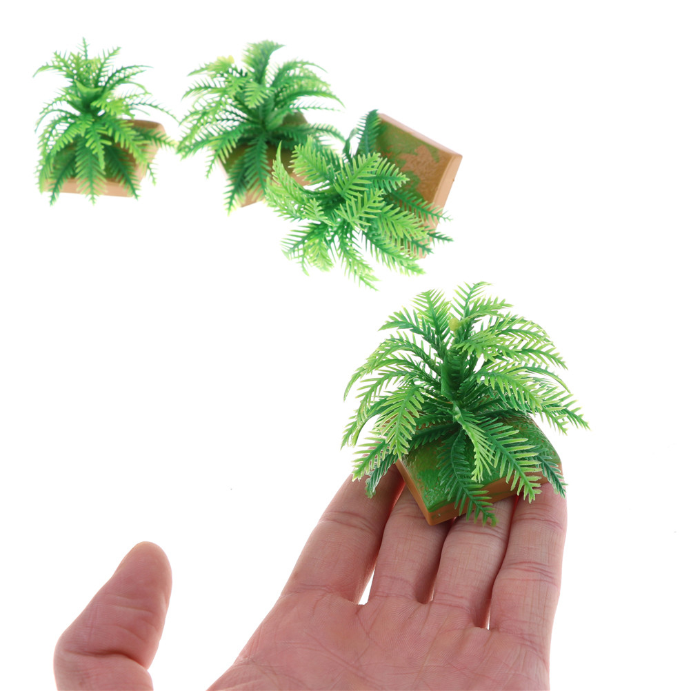 2PCS Hot Selling Miniature Plant Model Simulation Imitative Tree Shrub+Base Pedestal For Sand Table Building Architectural Model