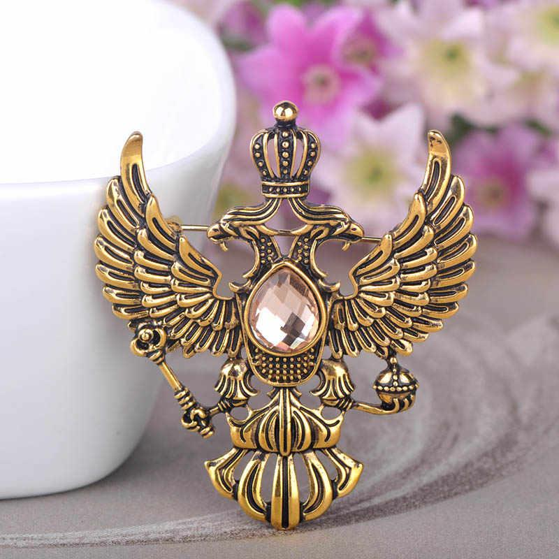 Blucome Retro Rusia Lambang Nasional Bros Antik Warna Emas Kristal Lencana Kerah Pin Wanita Pria Pakaian Suit Perhiasan Klip