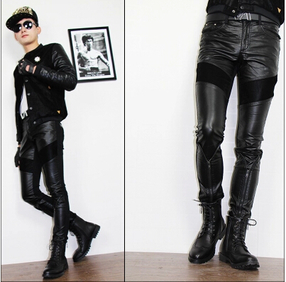 Black Autumn Splice Motorcycle Faux Leather Pants For Men