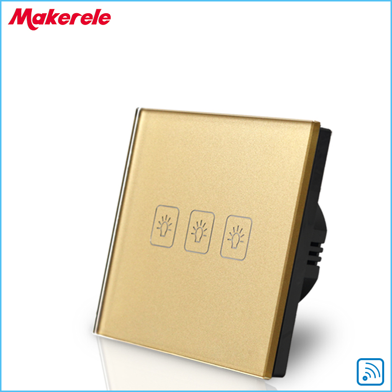 Remote Switch Wall Light  Free Shipping 3 gang 1 way Remote Control Touch Switch EU Standard Gold Crystal Glass Panel+LED remote wireless touch switch 1 gang 1 way crystal glass switch touch screen wall switch for smart home light free shipping