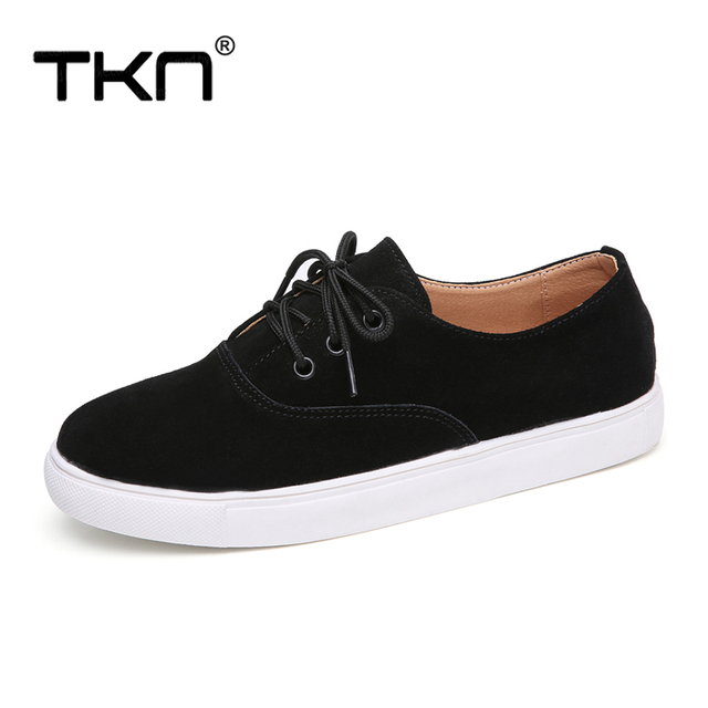 TKN 2018 winter flats oxford shoes for women leather suede sneakers lace up boat shoes women round toe flats moccasins 1376 1
