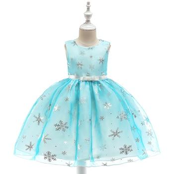 81c66cd05 Niños al por menor chica vestidos de verano para 3-8 años chicas copo de nieve  impresión niños vestidos de Navidad vestido de boda L5050