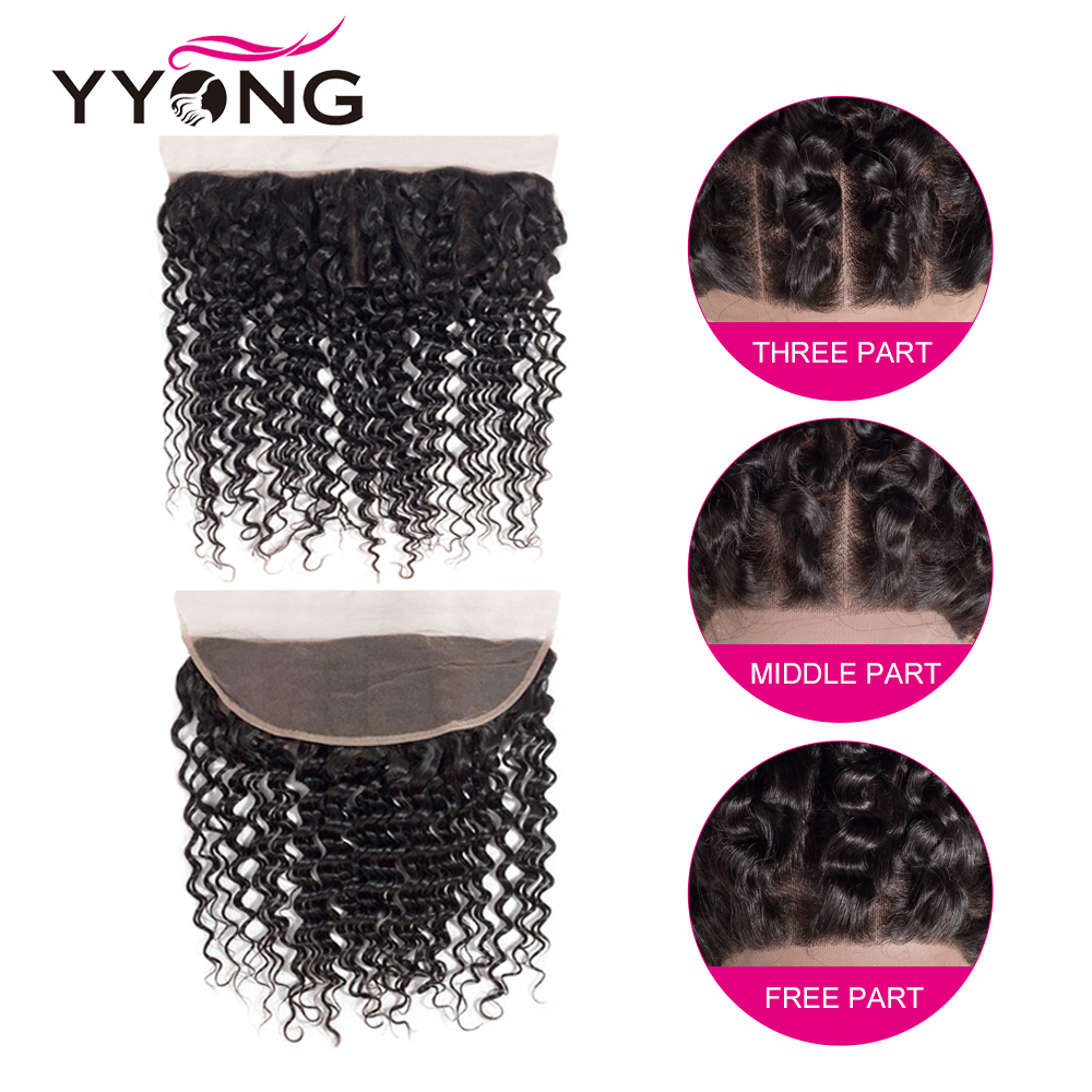 Yyong  Deep Wave  Lace Frontal Closure 13*4 Ear To Ear Free/Middle/Three Part Swiss Lace  Can Be Bleached 6