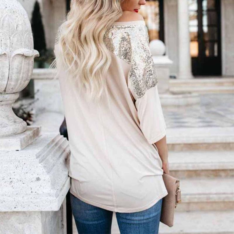 Women Summer Loose Sparkly Sequins Pocket Patched Casual Off Shoulder T-Shirt Top Party Tee Shirt Tops