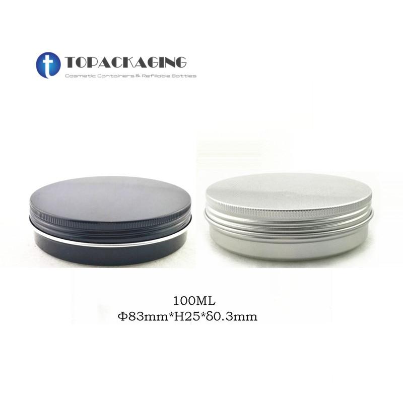 100g X 50 Aluminum Jar screw Cap Empty Cosmetic Container Cream Jar Sample Tin 100ml Lip
