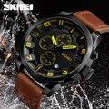 Новый 2018 SKMEI люксовый бренд модного бизнеса кварцевые часы мужские спортивные часы водонепроницаемые кожаные мужские наручные часы Relogio ...