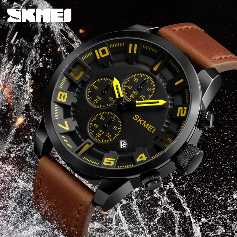 New 2018 SKMEI Luxury Brand fashion Business Quartz watch Men Sport Watches Waterproof Leather Men Wrist Watch Relogio Masculino skmei new arrival men sports luxury leather watches business waterproof casual quartz watch men clock reloj relogio masculino